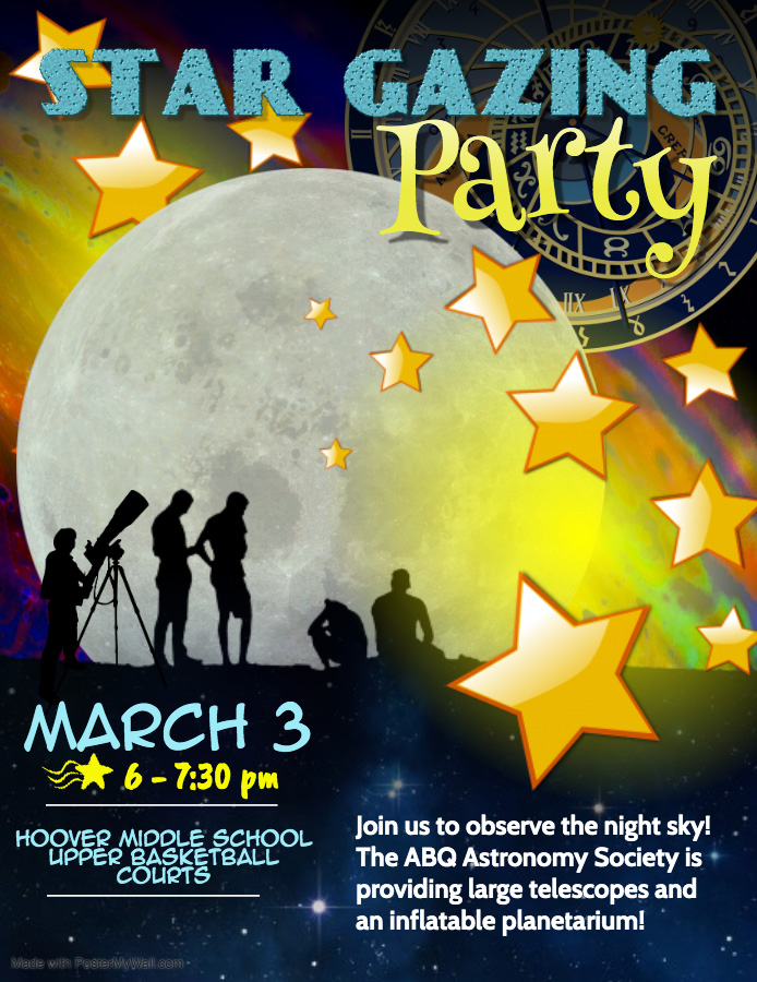 Star Gazing Party March 3rd 6-7 30pm
